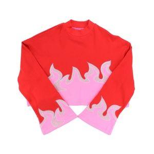 Lazy Oaf SM On Fire Crop Mock Sweatshirt Top Flame